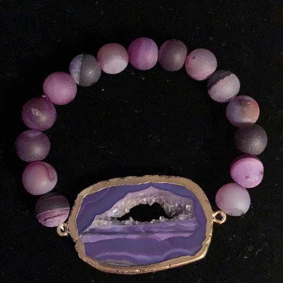 Purple Druzy Bracelet Druzy Wrap Bracelet Statement Bracelet Purple Geode Bracelet Purple Bracelet Purple and Gold Bracelet